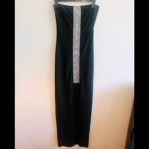 NWT $180 Bebe long strapless front slit dress